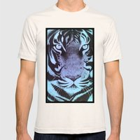 Be a Tiger (Blue) Mens Fitted Tee Natural SMALL