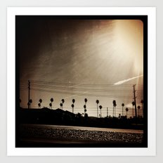 Palm trees and power lines. Art Print