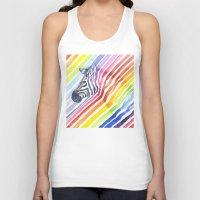 Rainbow Zebra Pattern (square) Unisex Tank Top
