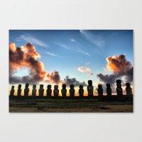 Sunrise Behind The Moai Canvas Print