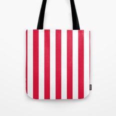Vertical Stripes (Crimson/White) Tote Bag