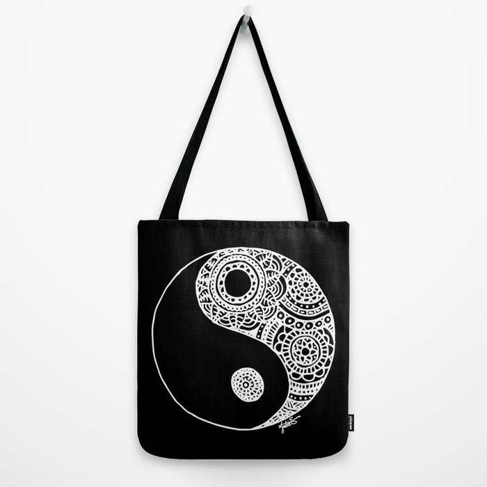 black white lace yin yang tote bag
