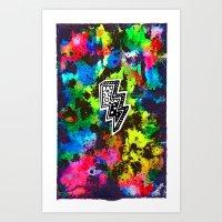 Neon Lightning Art Print