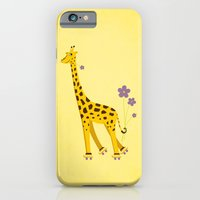 iPhone & iPod Case featuring Yellow Funny Roller Skating Giraffe by Boriana Giormova