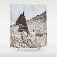 Snowy Horse Shower Curtain
