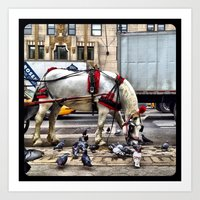 We get along like pigeons and horses. Art Print