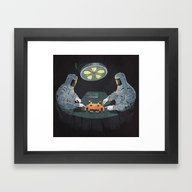 Framed Art Print featuring Alien Autopsy by Chris Rowson