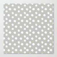 Brushy Dots - Gray Canvas Print