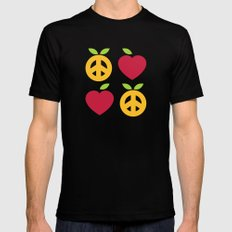 Apple and Orange - Love and Peace Mens Fitted Tee Black SMALL