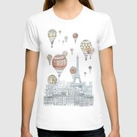 Voyages Over Paris Womens Fitted Tee White SMALL
