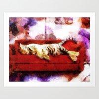 Sleeping Tiger on a Red Sofa by Aaron Bir Art Print