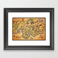 Framed Art Print featuring Johto Map by MeleeNinja