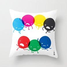 CMYK fights RGB Throw Pillow