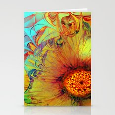 Sunflower Abstract Stationery Cards