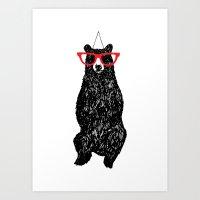 Mr. Hipster Bear  Art Print