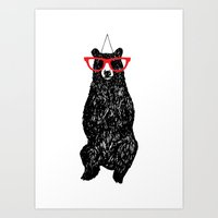 Mr. Hipster Bear  Art Print