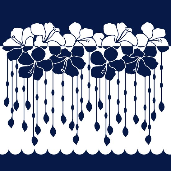 Hibiscus Neg Positive: Navy Art Print