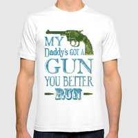 Daddy's Got A Gun Mens Fitted Tee White SMALL