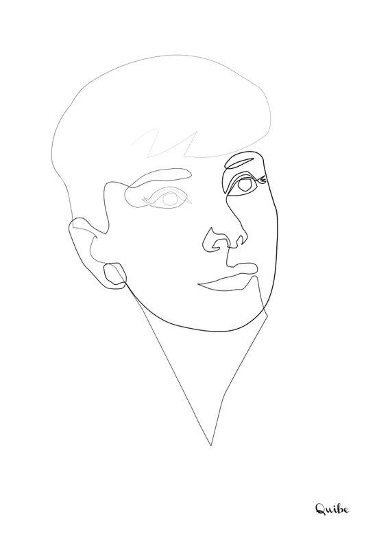 One line Audrey Hepburn Art Print