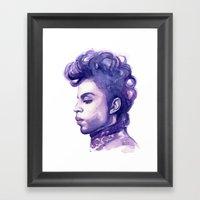 Prince Portrait Purple Watercolor  Framed Art Print