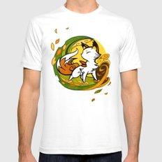 Autumn Fox White Mens Fitted Tee SMALL
