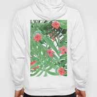 Ferns and red flowers Hoody