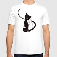 White And Black Cats In Love (red) Mens Fitted Tee White SMALL