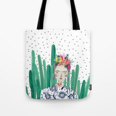 Frida Kahlo. Art, print, illustration, flowers, floral, character, design, famous, people, Tote Bag