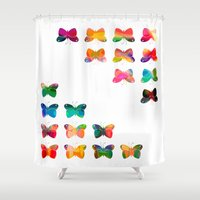 Multicolor butterflies Shower Curtain