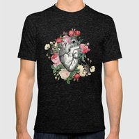 Roses for her Heart Mens Fitted Tee Tri-Black SMALL