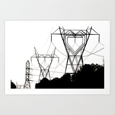 I heart your electricity. Art Print