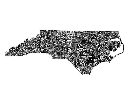 Typographic North Carolina Art Print