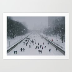 Skaters on the canal Art Print