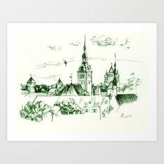 Medieval Landscape. Art Print
