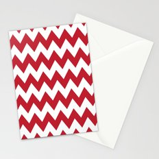 Red and White Bold Chevron Stripes Stationery Cards