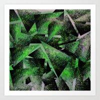Green Triangles Art Print