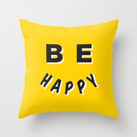 Be Happy Smiley Throw Pillow