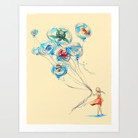 water Art Prints featuring Water Balloons by Alice X. Zhang