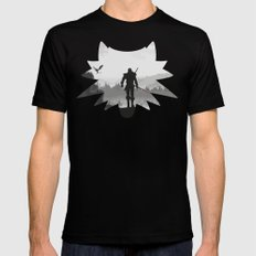 The white wolf Mens Fitted Tee Black SMALL