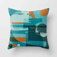 CATS ON BLUE WITH ORANGE Throw Pillow