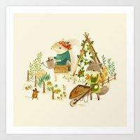 Critters: Summer Gardening Art Print