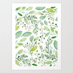 watercolor foliage Art Print