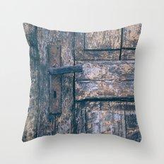 Weathered Wooden Door Throw Pillow