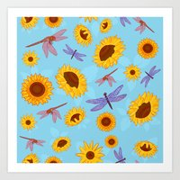 Sunflowers & Dragonflies Art Print