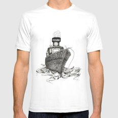 Knitted Ship White Mens Fitted Tee SMALL