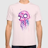 Jellyfish Watercolor Mens Fitted Tee Light Pink SMALL