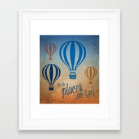 Oh, the Places You'll Go - Blue & Gold Framed Art Print