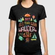 Not All Those Who Wander… Womens Fitted Tee Tri-Black SMALL