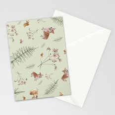 pale green holiday corgi Stationery Cards