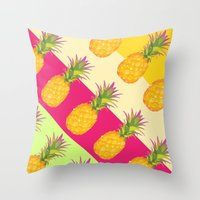 Tropical Pineapples Throw Pillow